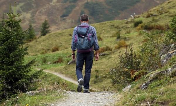 Wanderer-backpack-hike-away-path-mountain-hiking